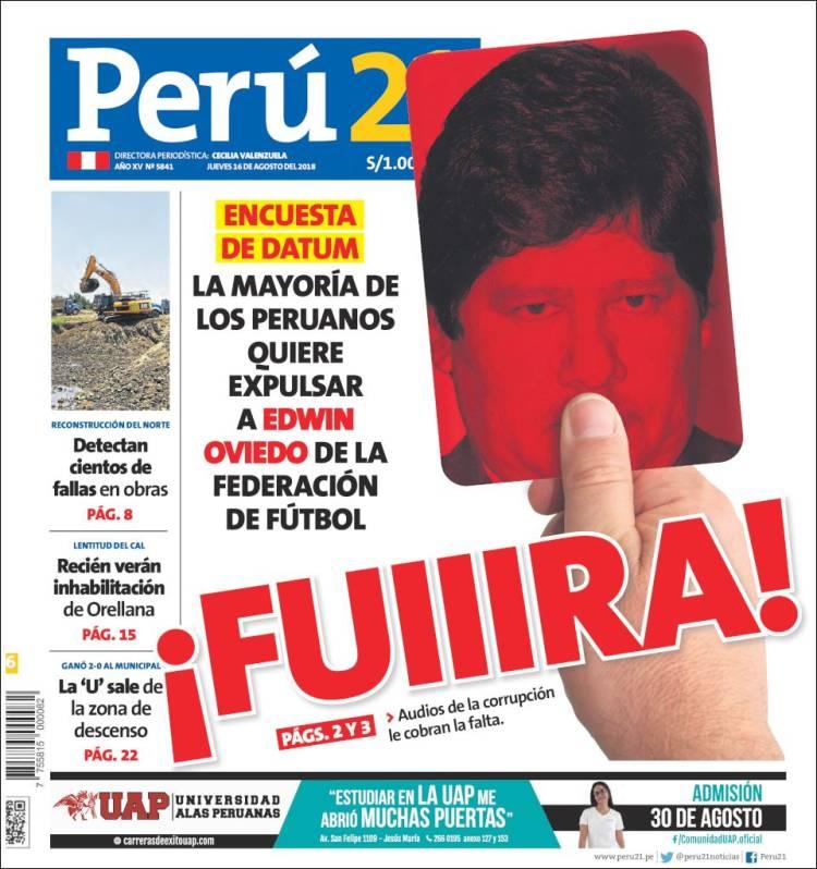 Portada de Perú 21 (Pérou)