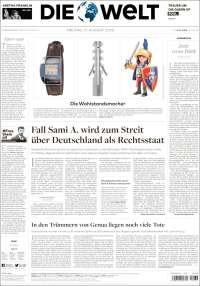 Portada de Die Welt (Allemagne)