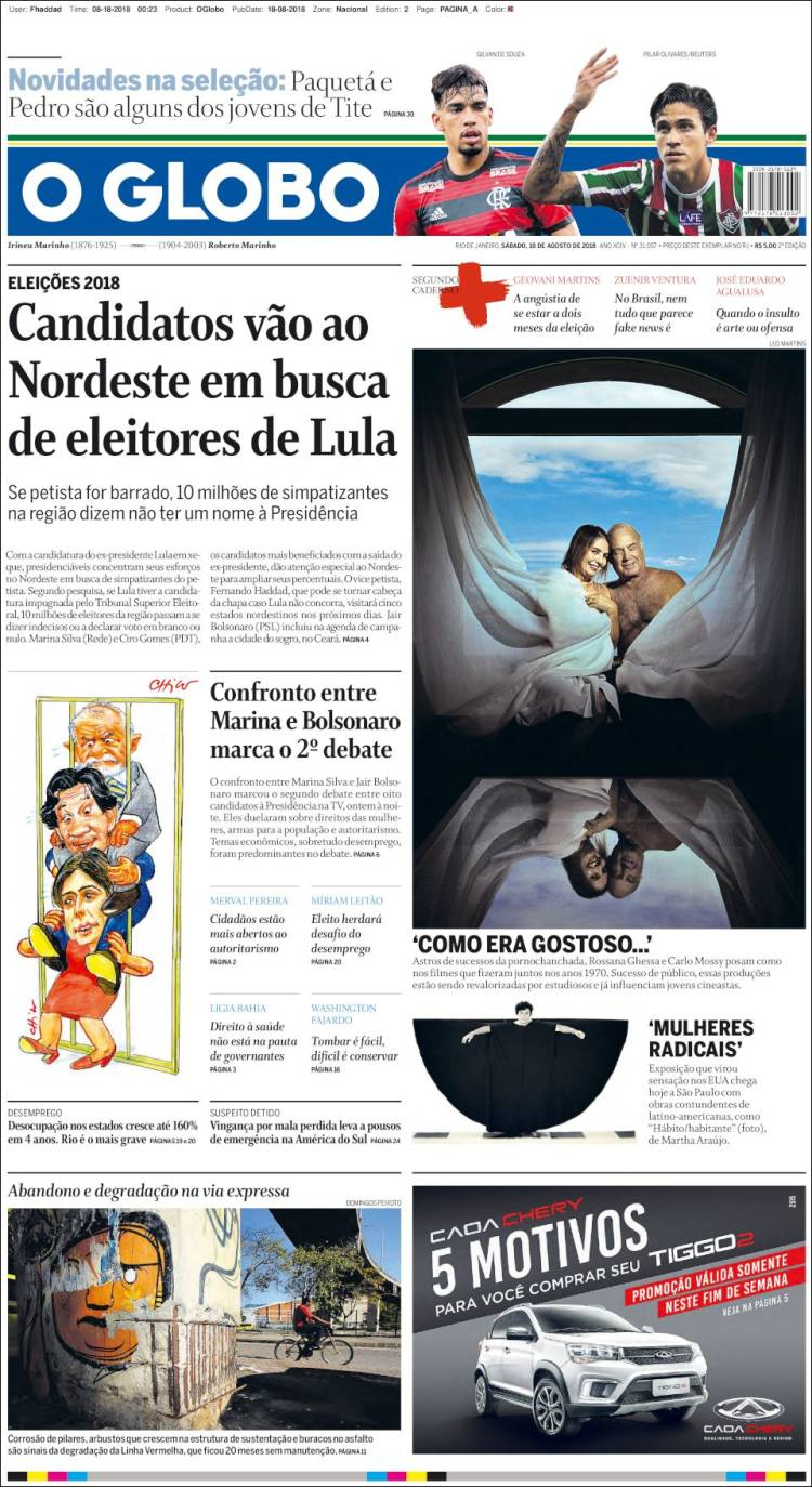 Portada de O Globo (Brésil)