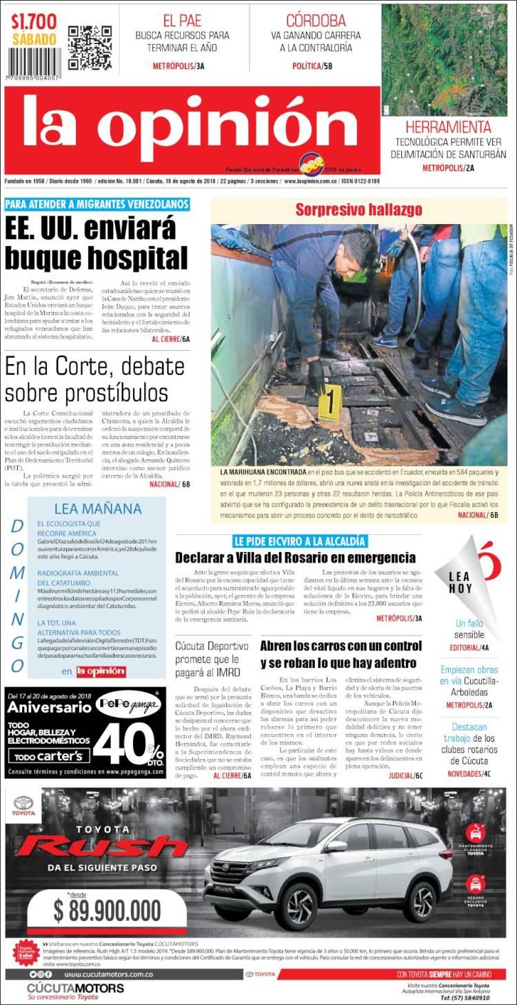 Portada de Diario La Opinion (Colombie)