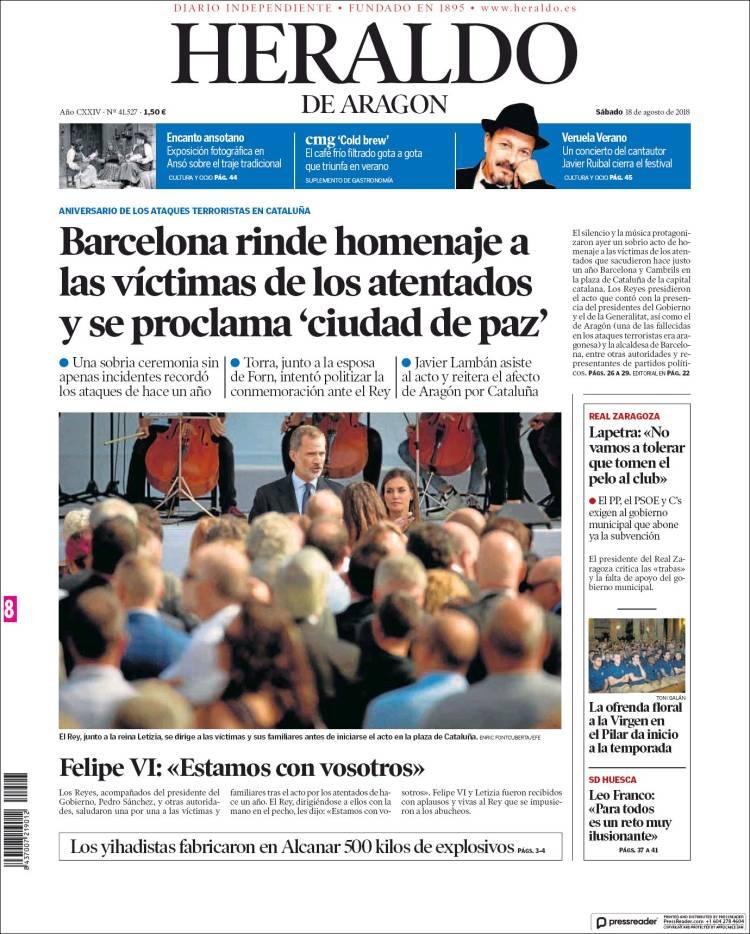 Portada de Heraldo de Aragón (Espagne)