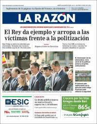 Portada de La Razón (Espagne)
