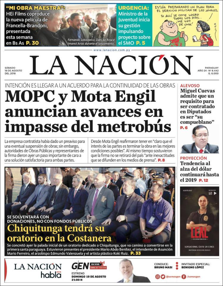 Portada de La Nación (Paraguay)