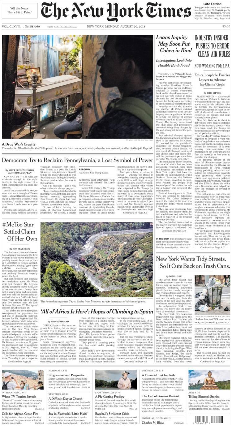 Newspaper New York Times Usa Newspapers In Usa Mondays Edition