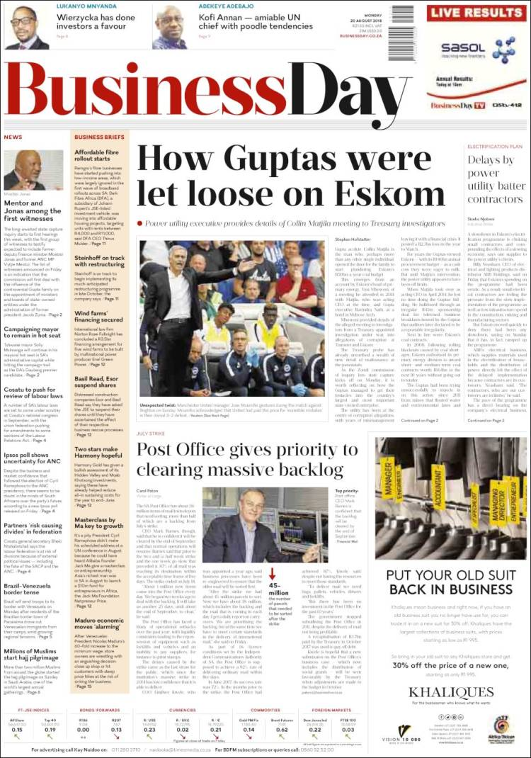 Portada de Business Day (Sudáfrica)