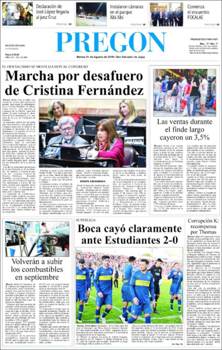 Portada de Diario Pregón (Argentina)