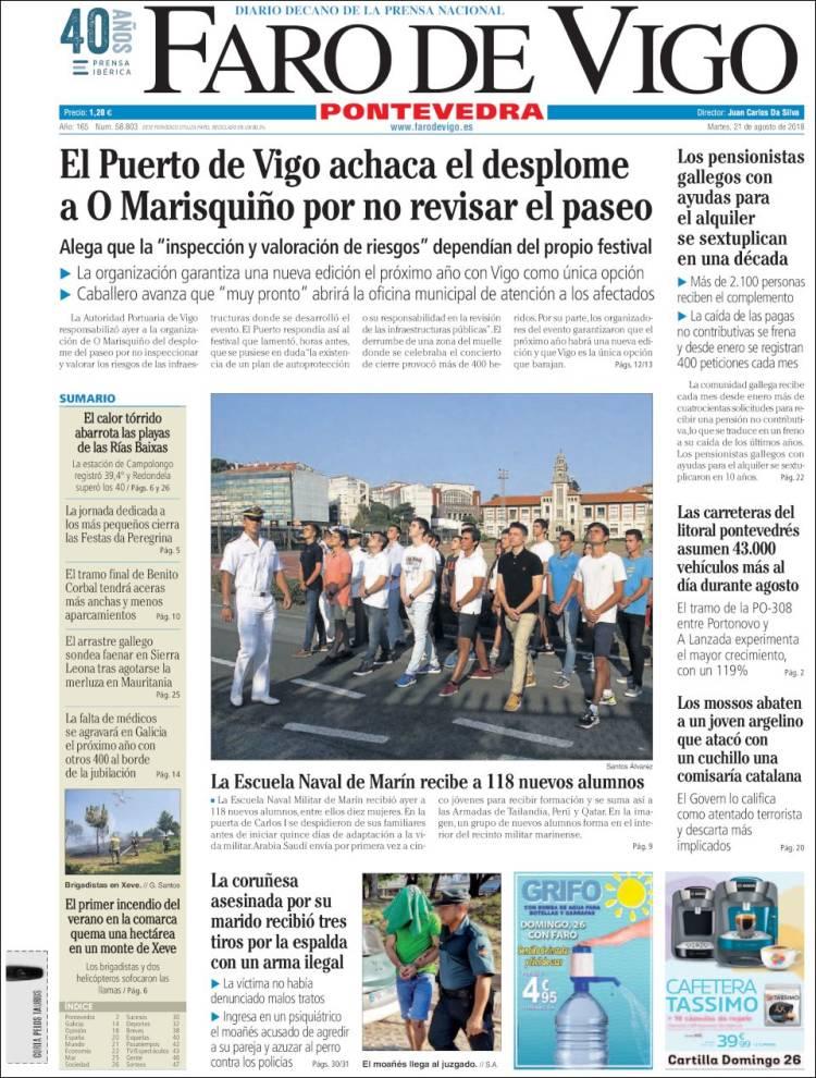 Portada de El Faro de Vigo - Pontevedra (España)
