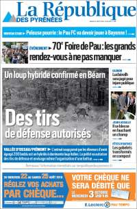 Portada de La République des Pyrénées (Francia)