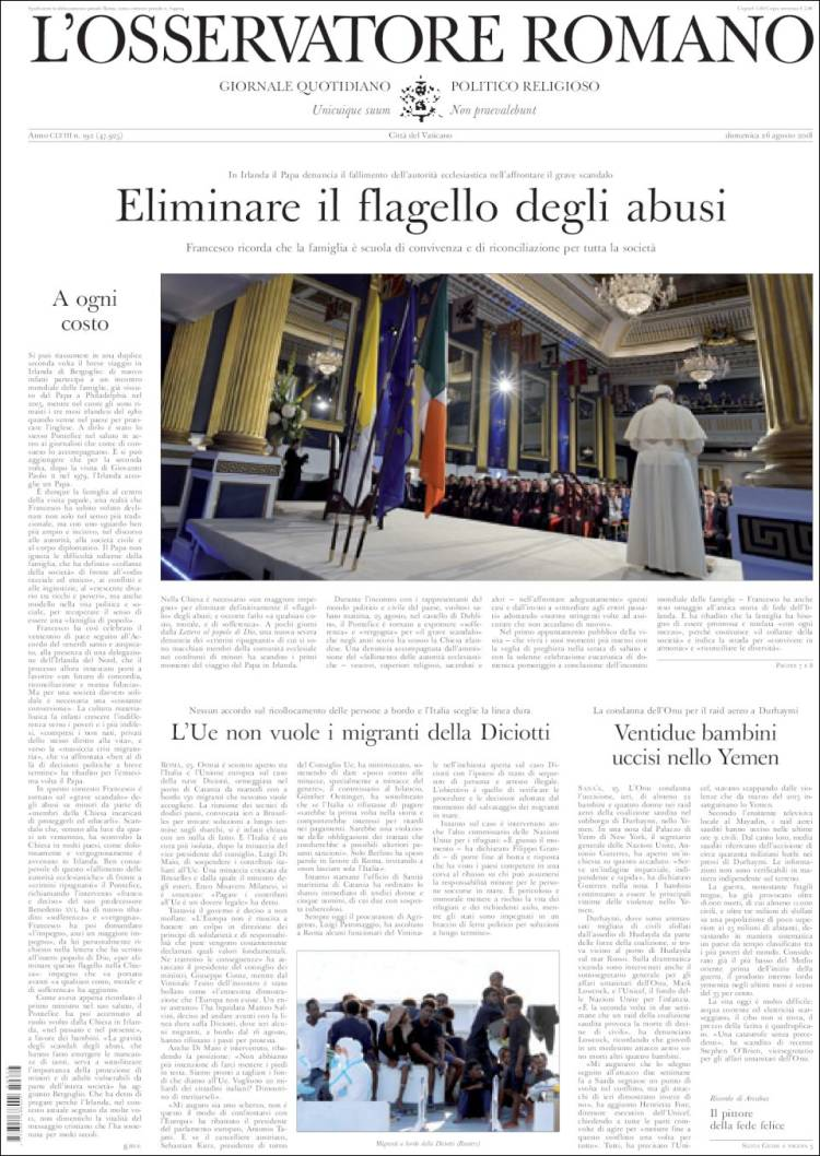Newspaper LOsservatore Romano (Italy). Newspapers in Italy ...