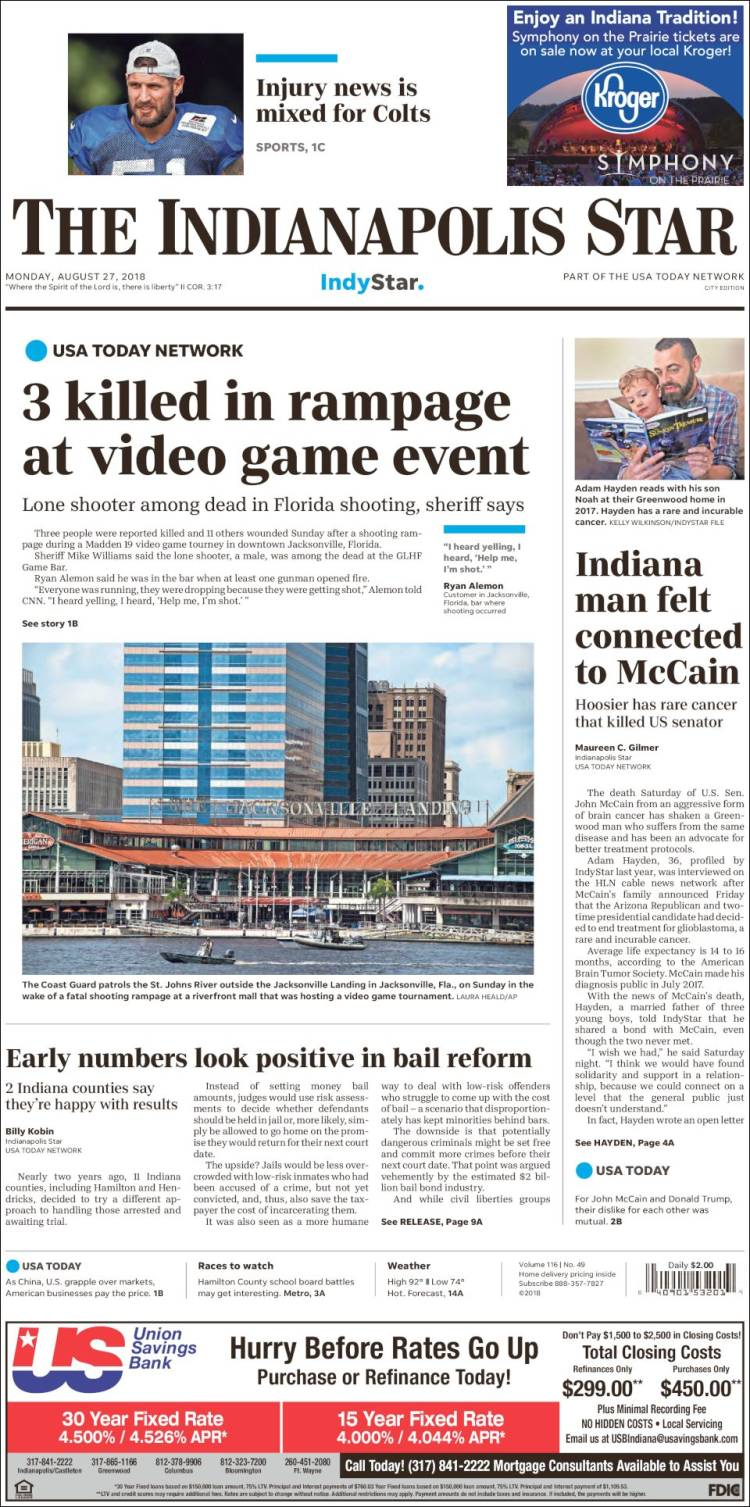 Portada de The Indianapolis Star (USA)