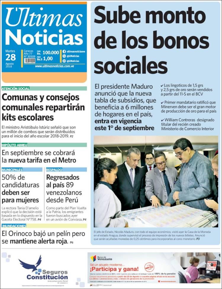 Periódico Últimas Noticias (Venezuela). Periódicos de Venezuela ... 57b5ccb5ef25f