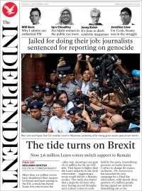 Portada de The Independent (Reino Unido)