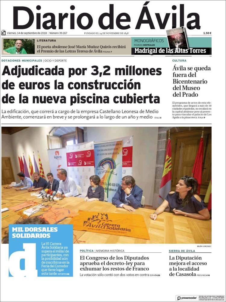 Portada de Diario de Ávila (España)