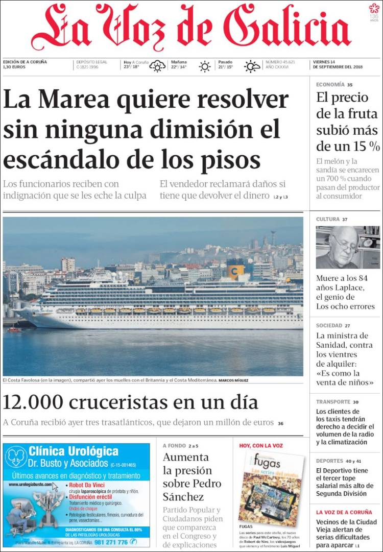 Portada de La Voz de Galicia (España)