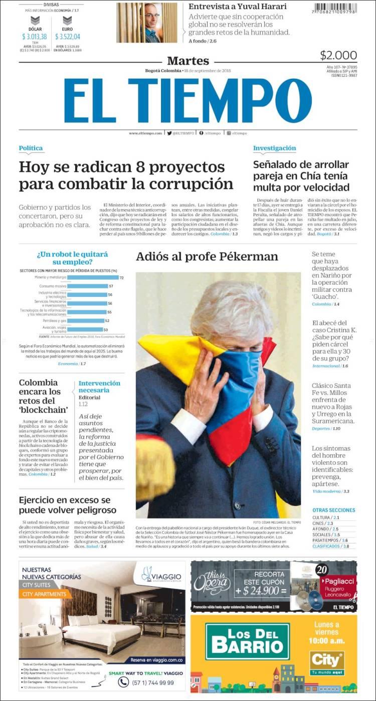 Portada de El Tiempo (Colombia)