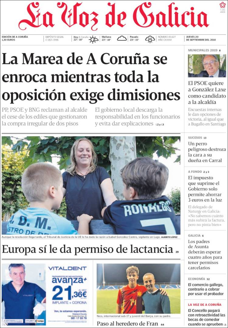 Portada de La Voz de Galicia (Spain)