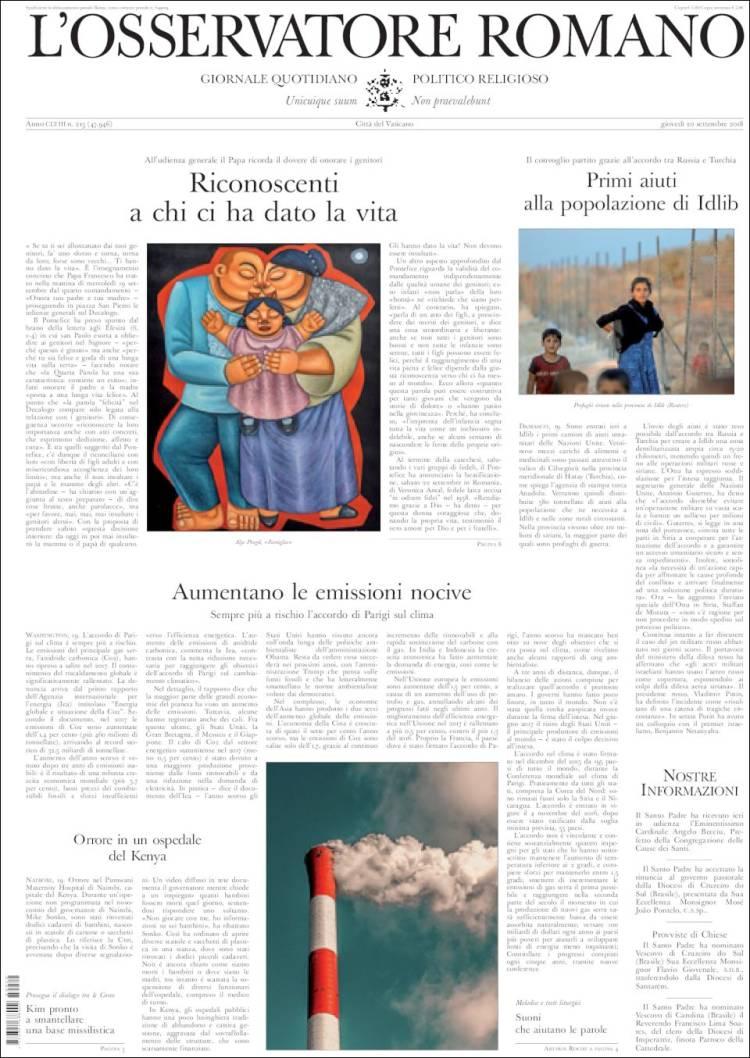 Portada de L'Osservatore Romano (Italy)
