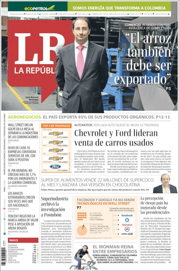 Portada de La Republica (Colombia)