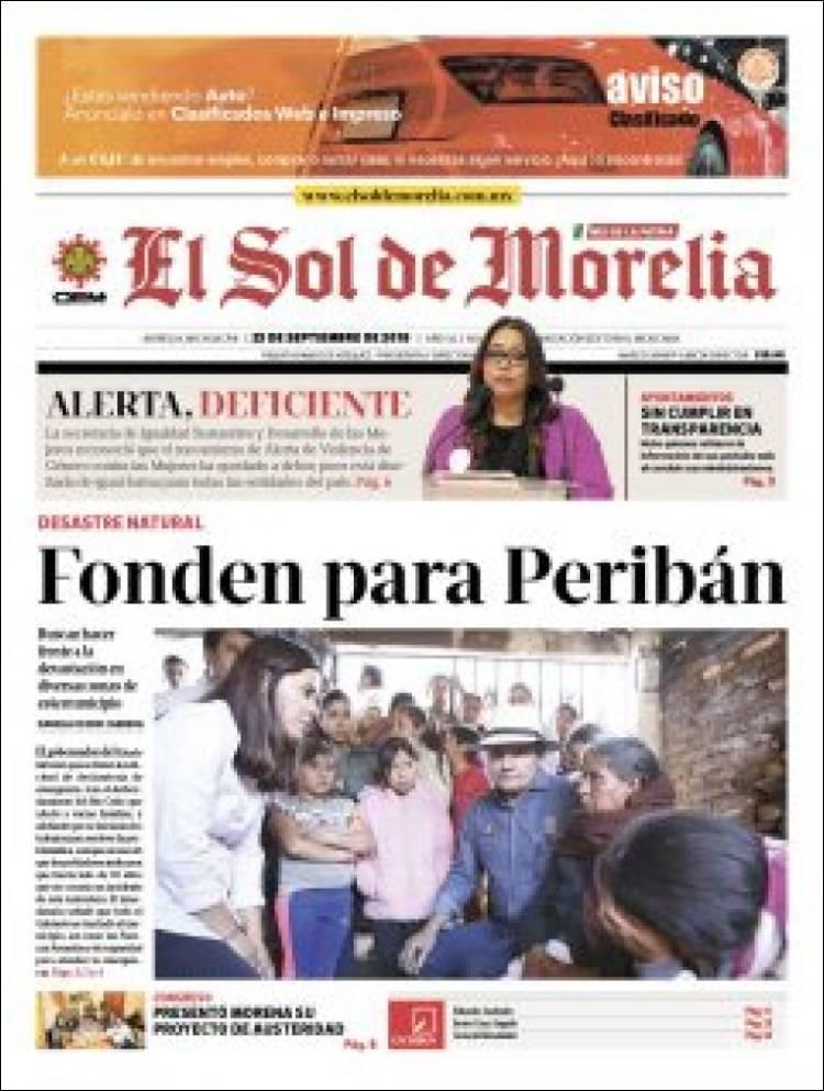 Portada de El Sol de Morelia (Mexique)