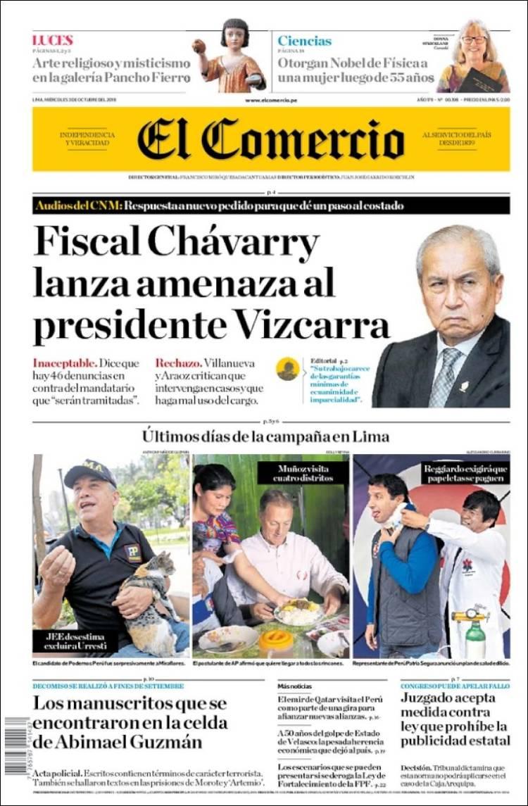 Portada de El Comercio (Perú)