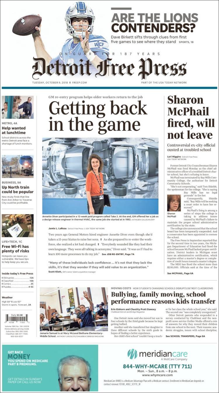 Newspaper Detroit Free Press Usa Newspapers In Tuesdays Del City Release Portada De