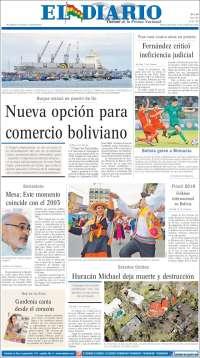 Portada de Noticias El Diario (Bolivie)