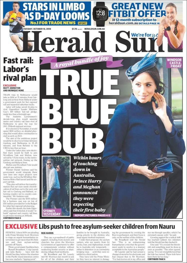 portada de herald sun australia