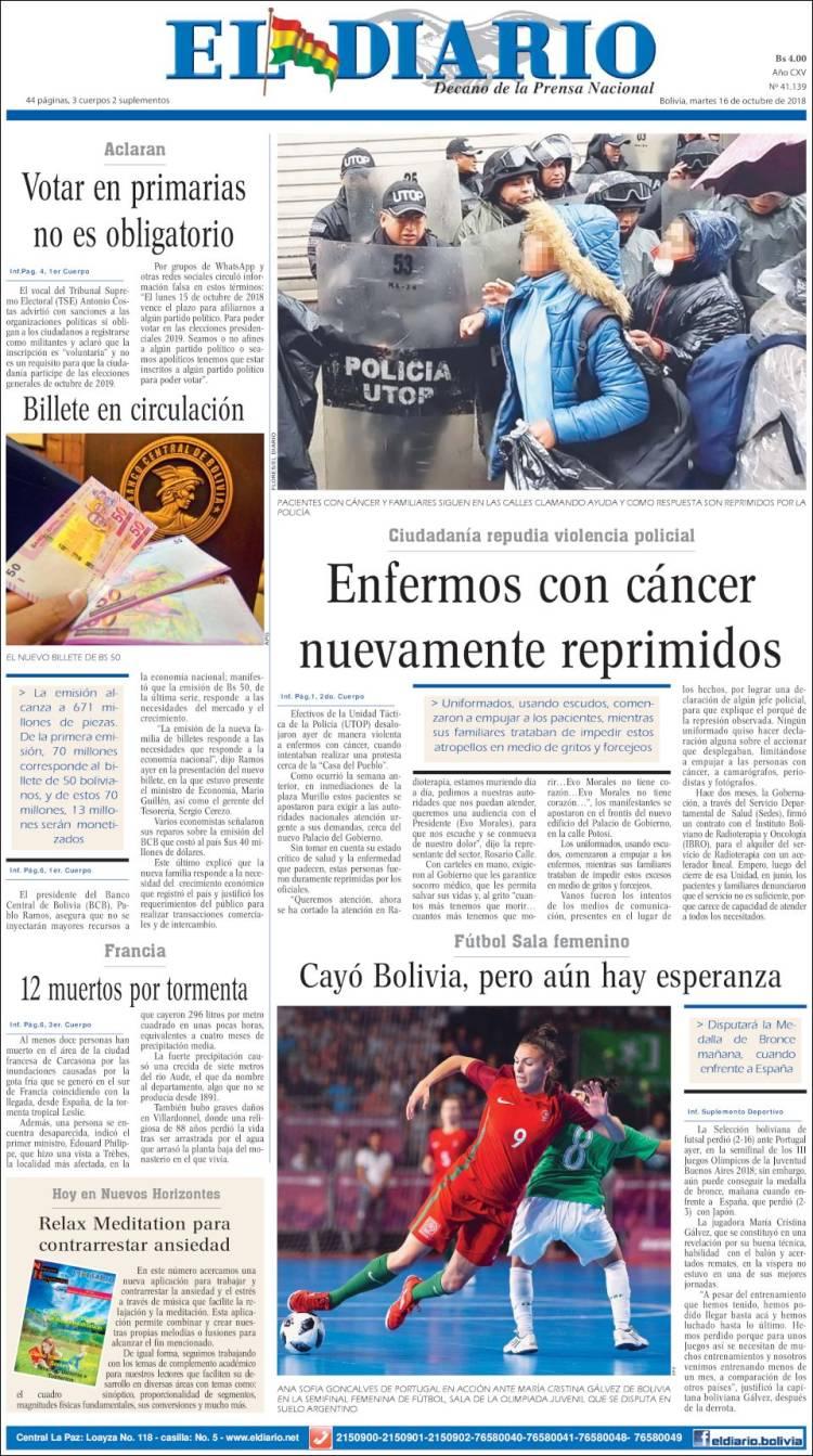 Portada de Noticias El Diario (Bolivia)