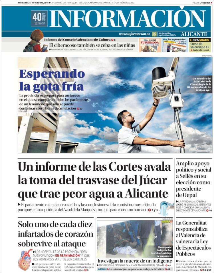 Portada de Diario Información (Spain)