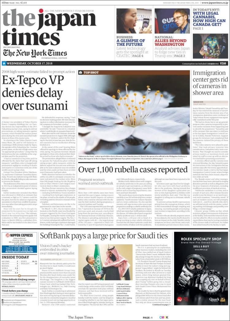 Portada de The Japan Times (Japón)
