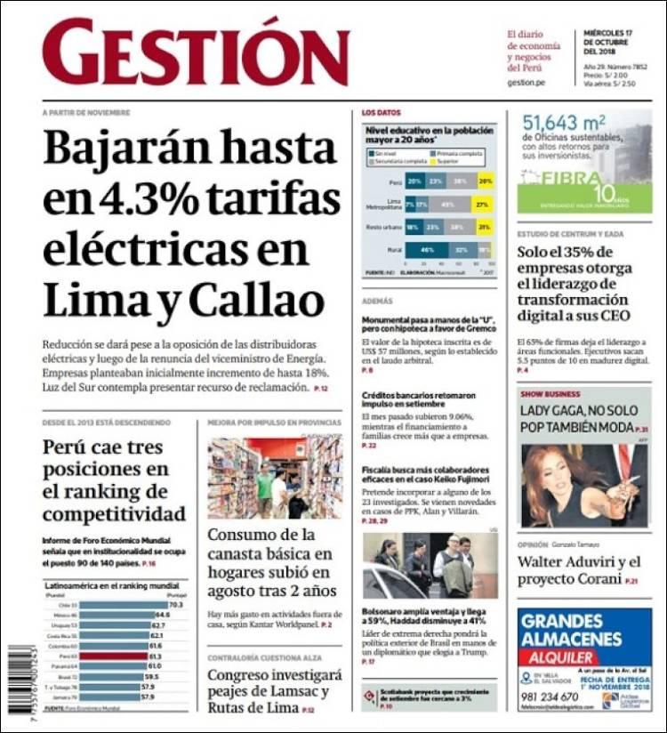 Portada de Diario Gestión (Pérou)
