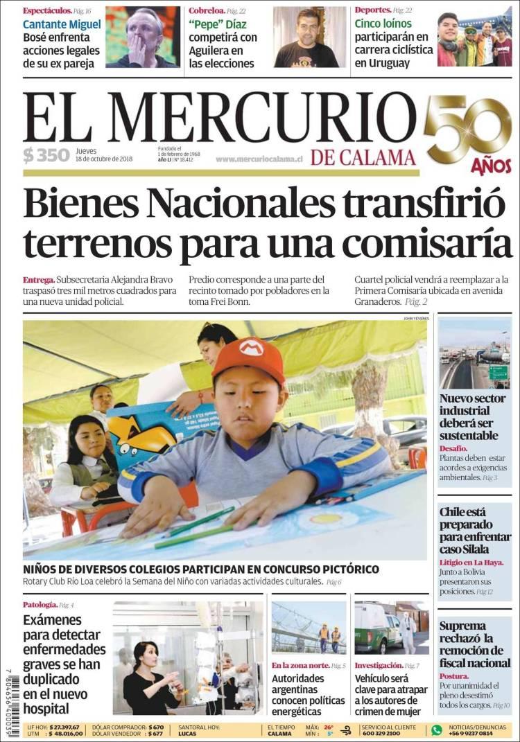 Portada de El Mercurio - Calama (Chili)