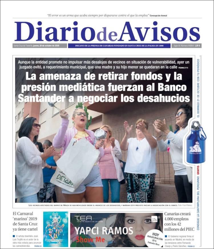 Portada de Diarios de Avisos (Espagne)