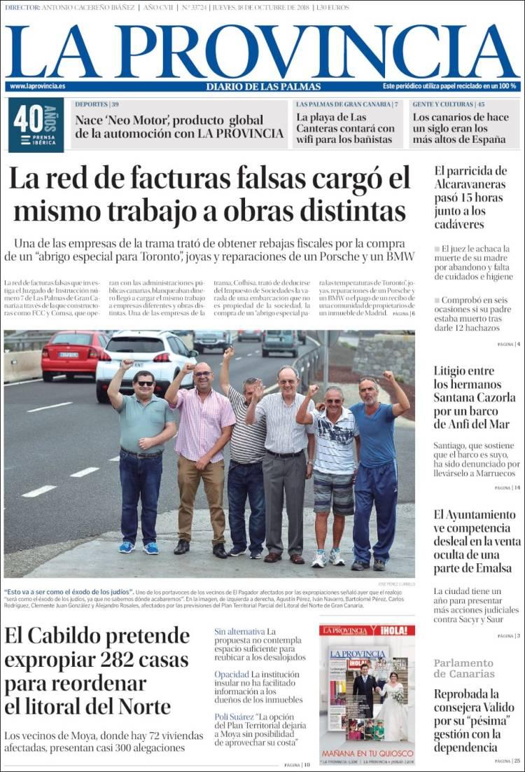 Portada de La Provincia (Espagne)