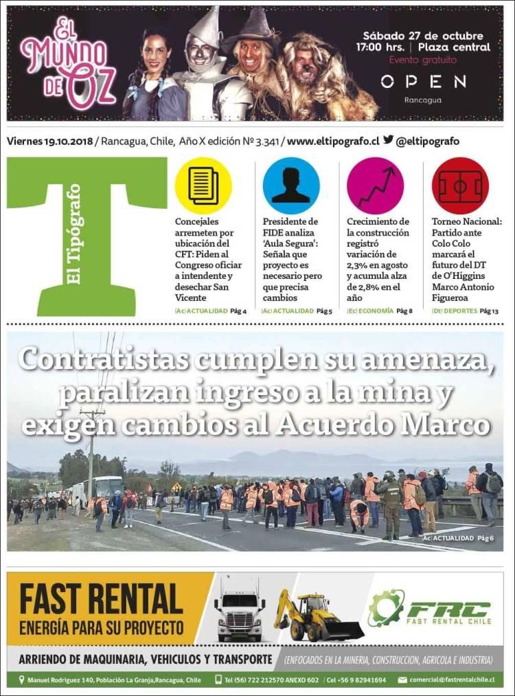 Portada de El Tipógrafo (Chili)
