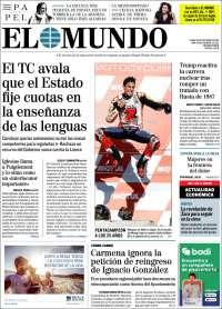 Portada de El Mundo (Espagne)