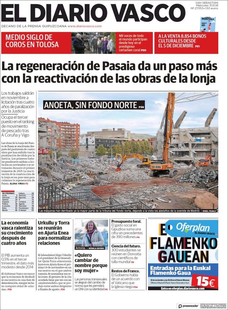 Periódico Diario Vasco (España). Periódicos de España. Edición de ... 0115f0837d1