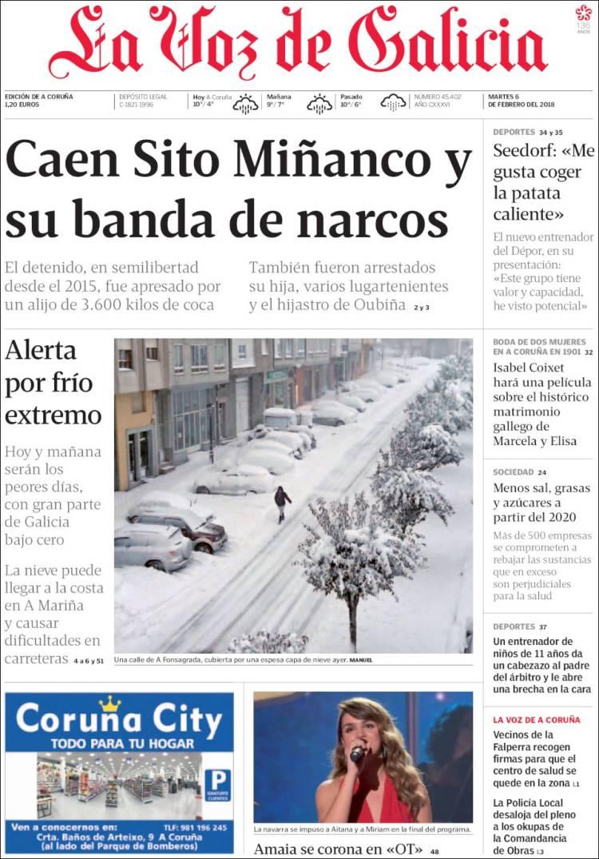 Newspaper La Voz De Galicia Spain Newspapers In Spain Tuesday S Edition February 6 Of 2018 Kiosko Net