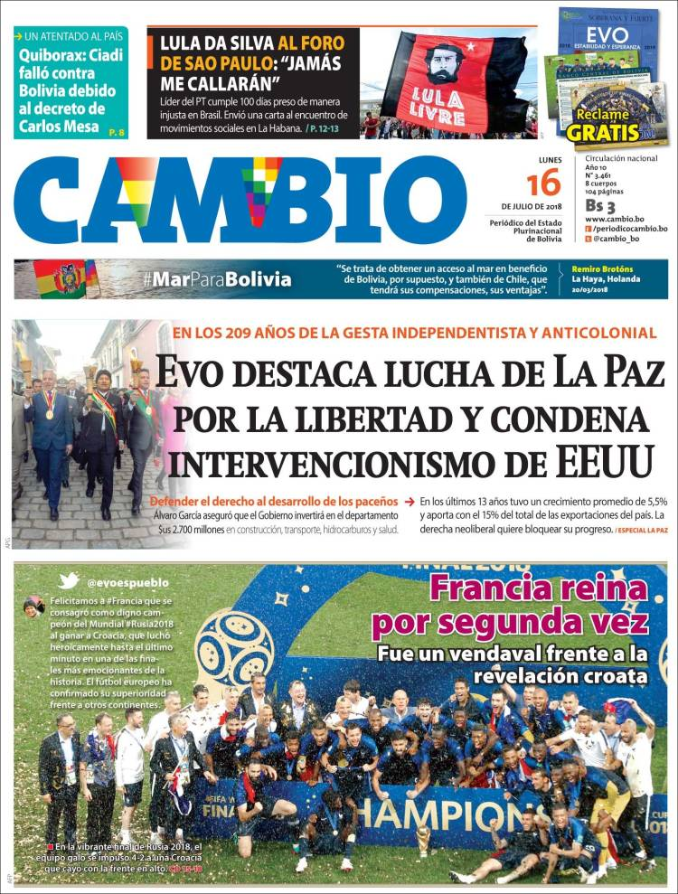 Newspaper Cambio Bolivia Newspapers In Bolivia Monday S Edition July 16 Of 2018 Kiosko Net