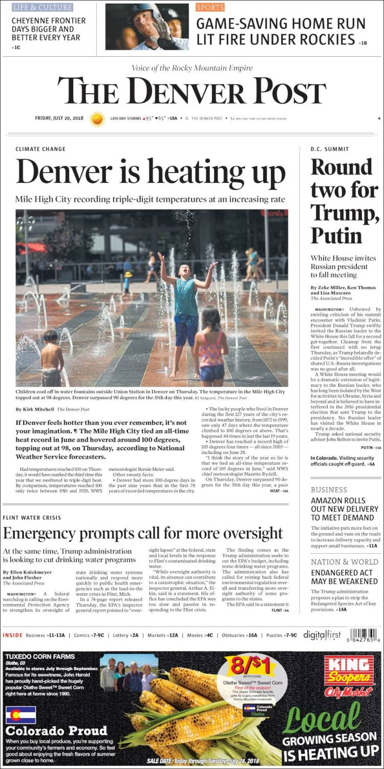 Newspaper The Denver Post Usa Newspapers In Fridays Edition Del City Press Release Portada De